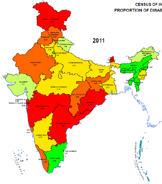 Proportion of Disabled PopulationIndia and States-UTs- 2011