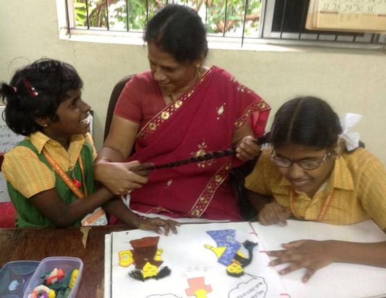 Eyes and ears of the students:These teachers are admirably committed to the service of children and young adults with deafblindness. (right) Jayanthi Narayanan.