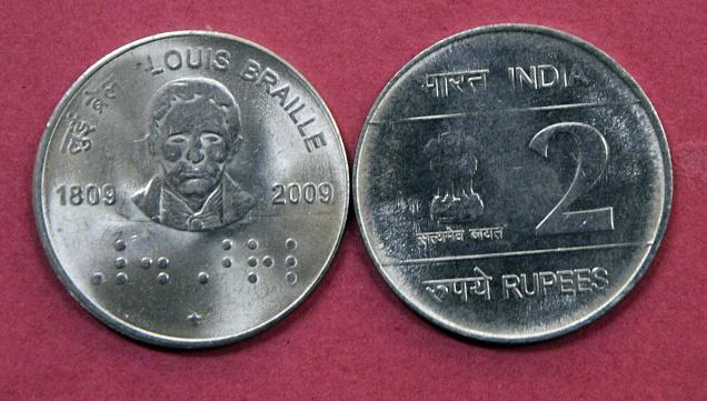 Braille on Indian currency notes
