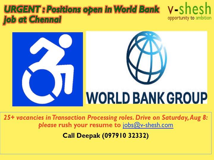 Positions open in World Bank job at chennai