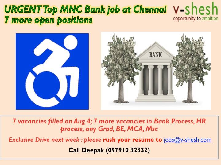 Vacancies at Top MNC Bank Jobs at Chennai