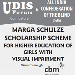 Marga Schulze Scholarship Scheme for Girls with Visual Impairment banner