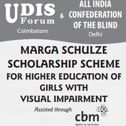 Marga Schulze Scholarship Scheme for Girls with Visual Impairment banner