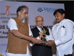 Universal Design Award 2016  Being felicitated by the Hon'ble Minister Mr. Krishan Pal Gurjar