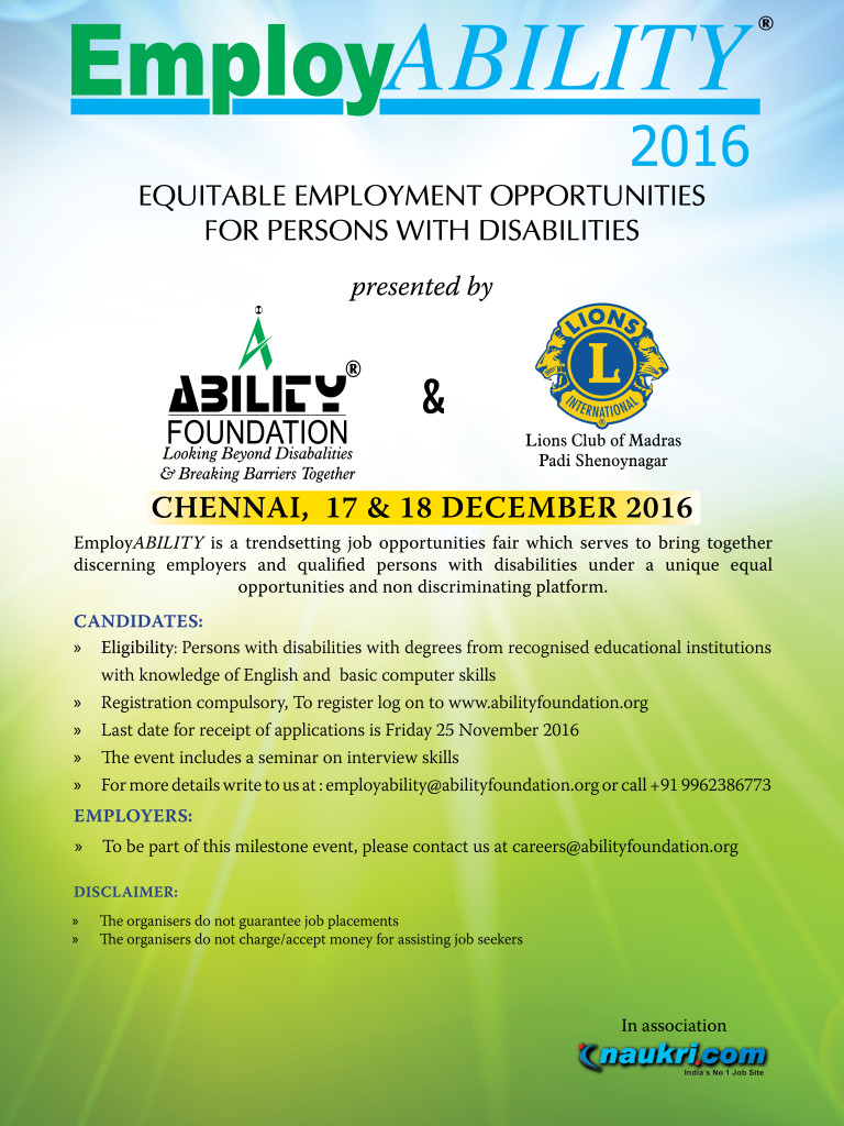 employability 2016 - ability foundation - job fair for people with disabilities