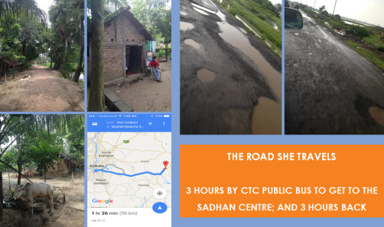The Road she travels - 3 hours by CTC Public bus to get to the Sadhan Centre; and 3 hours back