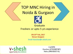 Jobs for Persons with Disabilities at Delhi NCR (Gurgaon / Noida)