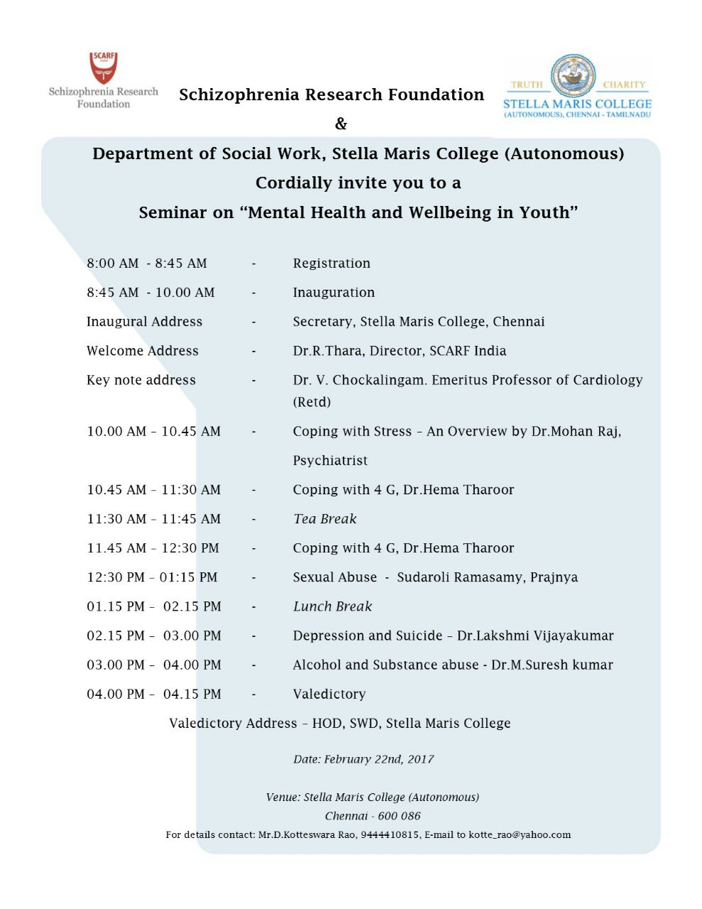 Seminar on Mental Health and Wellbeing in Youth.