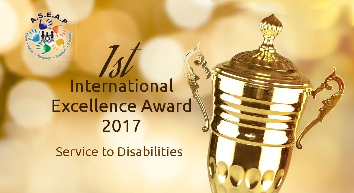1st International Excellence Award 2017 for Service to Disabilities