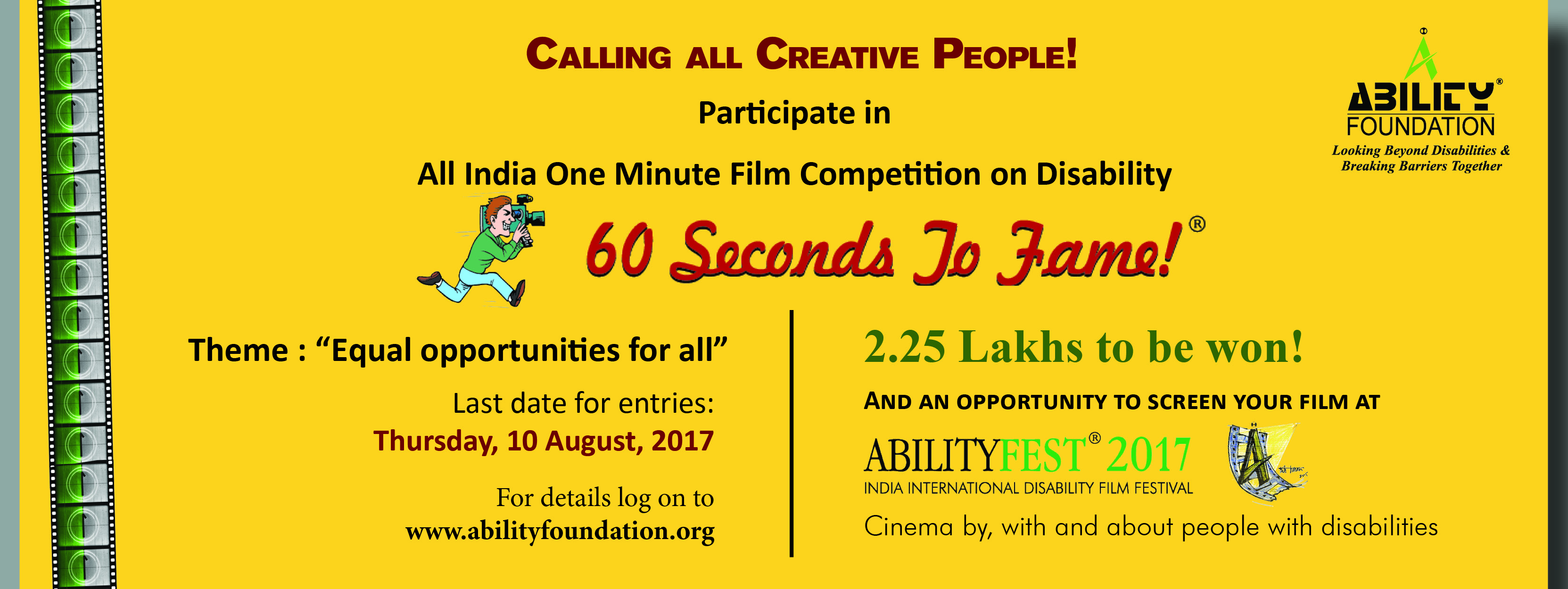 60 Seconds to Fame! – all India one minute film competition on disability
