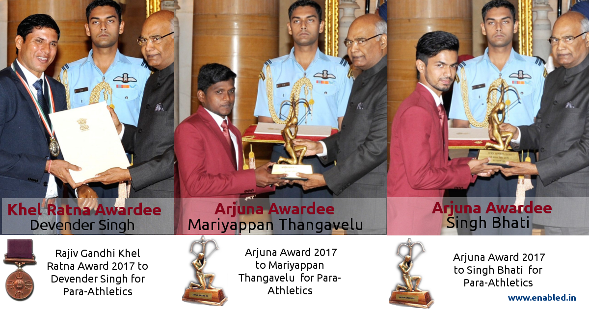 Paralympians receive the Prestigious Khel Ratna and Arjuna Awards 2017