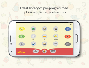 Jellow Communicator AAC app that uses icons and images to enable speech