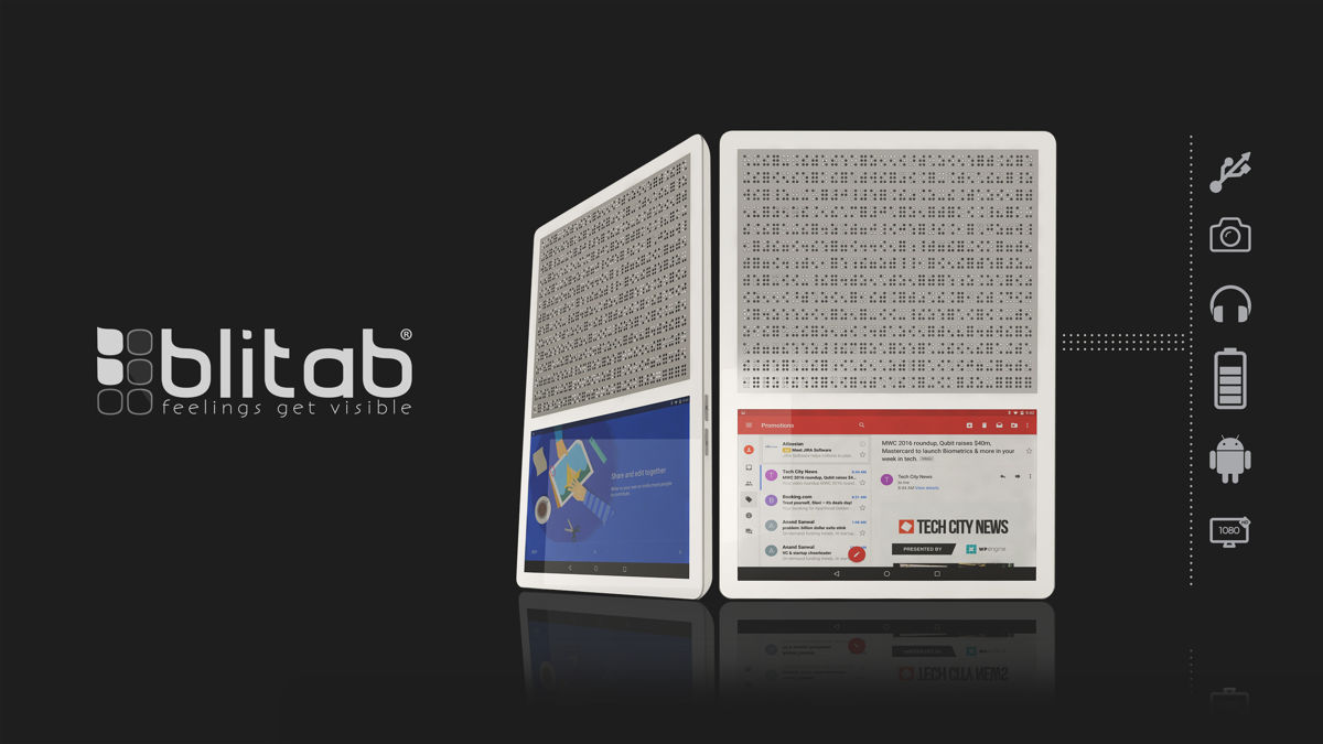 Blitab 174 World S First Tactile Tablet For Blind And