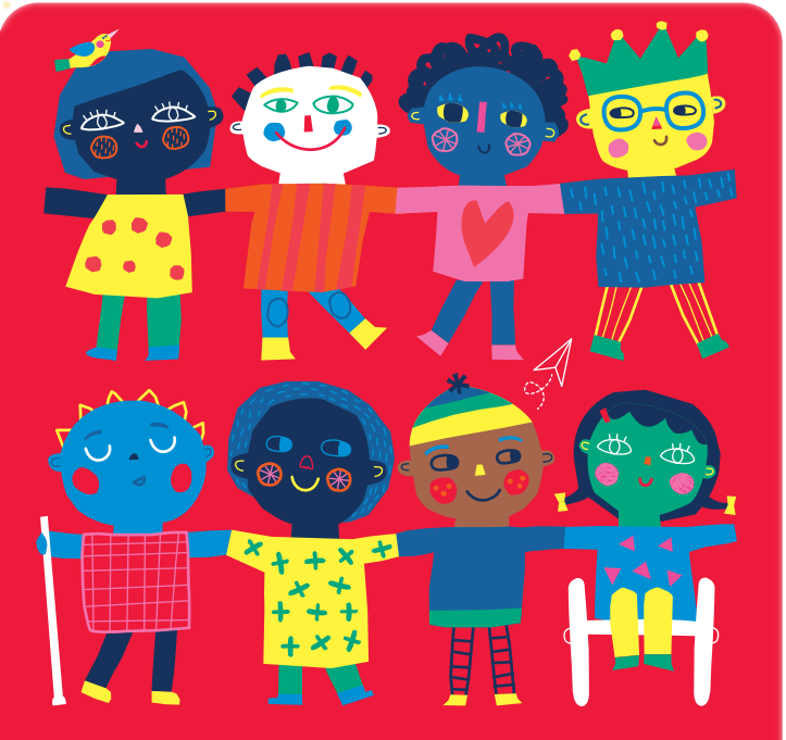 all kind of persons in the banners, like girl, boy and disabilities. 10 principles adolescent with disabilities
