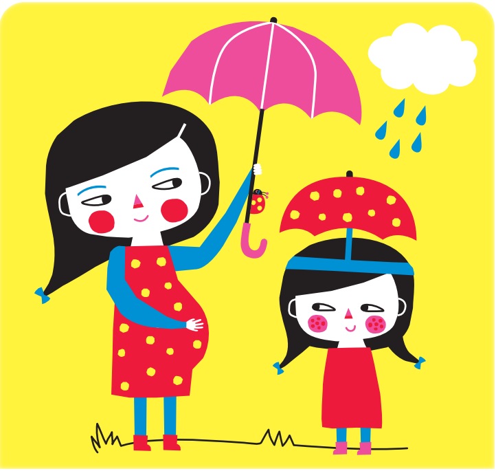 In this picture, mother product child from raining